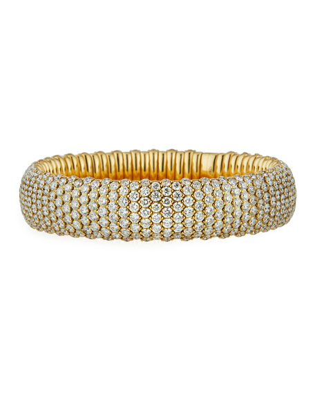 18k Yellow Gold Wide Stretch Bracelet w/ Diamonds