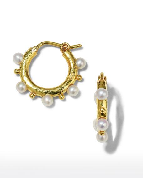Big Baby 19k Gold & Pearl Hoop Earrings