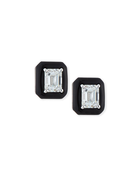 18k Oui Diamond & Black Enamel Octagonal Stud Earrings