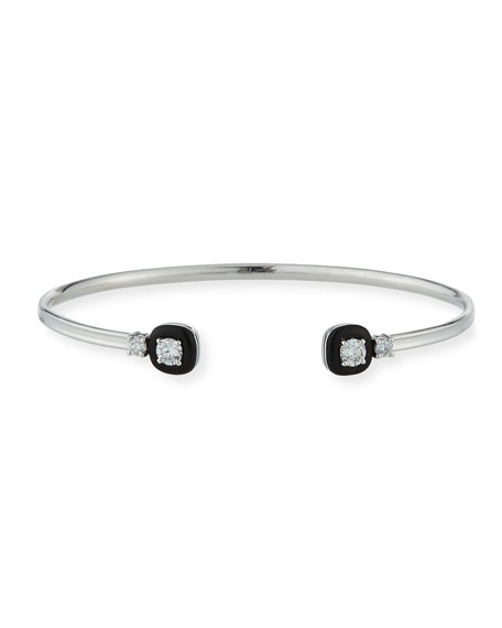 18k Oui Double Diamond & Black Enamel Bracelet