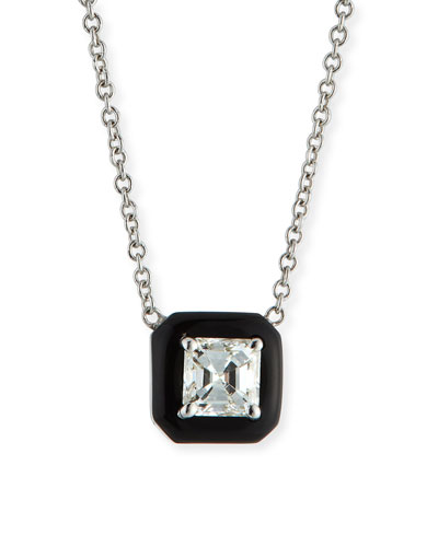 18k Oui Asscher Diamond & Black Enamel Necklace