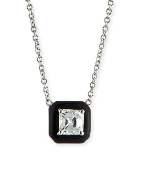 18k Oui Asscher Diamond & Black Enamel Necklace