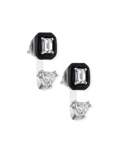 Oui 18k White Gold Double Diamond & Black Enamel Drop Earrings