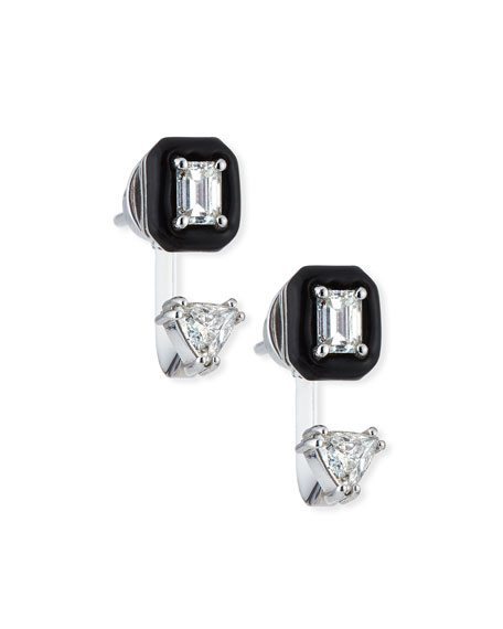 Oui 18k White Gold Double Diamond & Black Enamel Drop Earrings