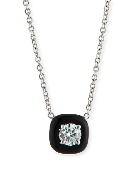 18k Oui Diamond & Black Enamel Necklace