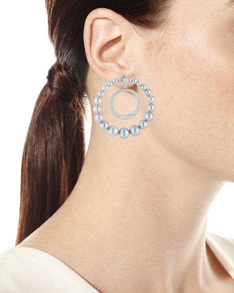 Nikos Koulis 18k Lingerie Pearl & Diamond Hoop Earrings