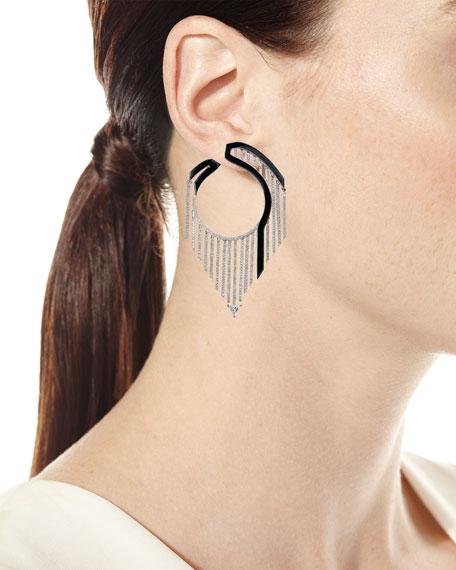 Nikos Koulis Oui 18k White Gold Drop Earrings w/ Diamonds & Black Enamel