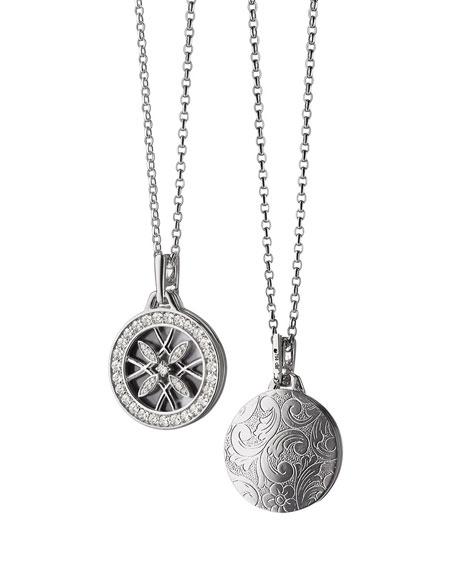 Monica Rich Kosann 18k White Gold & Diamond Gate Locket Necklace