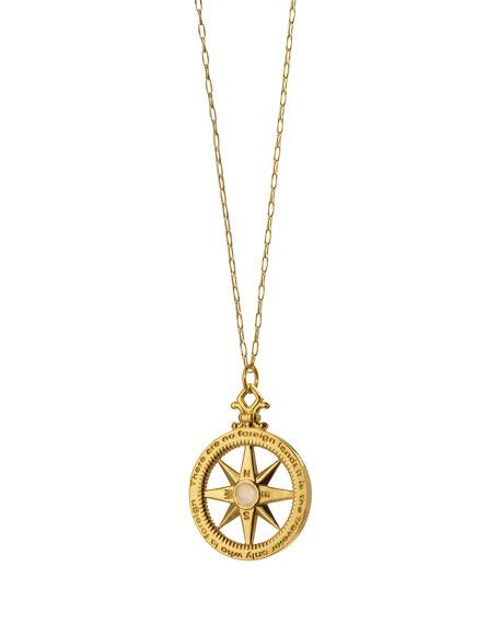 Monica Rich Kosann 18K Gold Diamond Compass Charm Necklace