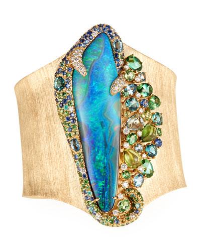 18k Opal Isle Cuff Bracelet w/ Mixed Stones