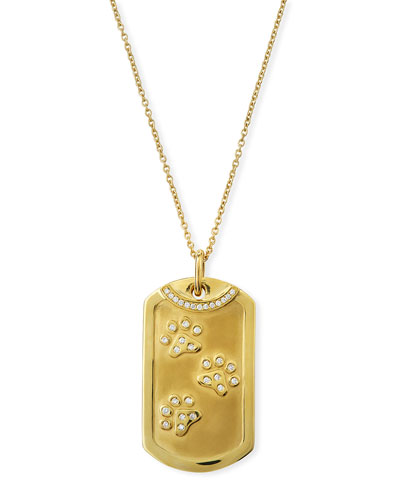 18k Gold Diamond Dog Tag Paw Print Necklace