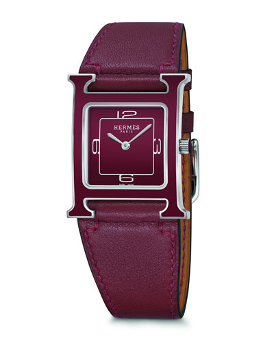 Heure H Watch  Stainless Steel & Leather Strap