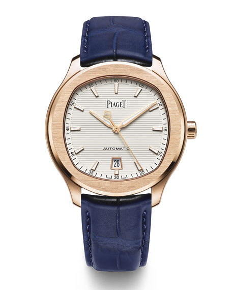 PIAGET Polo S 42mm Watch w/ Alligator Strap, 18k Rose Gold