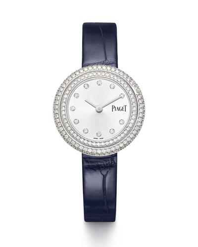 Possession 18k White Gold & Diamond Alligator Watch, 1.62tcw