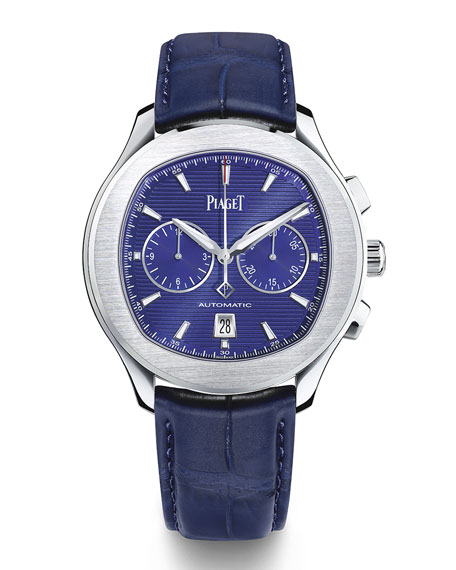 PIAGET Polo S 42mm Chronograph Watch w/ Alligator Strap