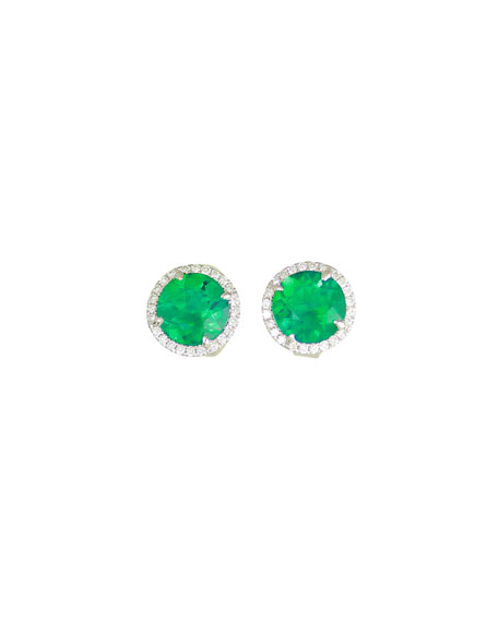 Frederic Sage 18K White Gold Round Lab-Created Emerald & Diamond Halo Stud Earrings