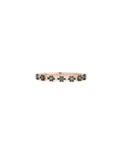 14k Rose Gold Green Diamond Flowerette Band Ring, Size 7