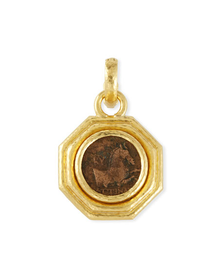 19k Gold Octagonal Greek Coin Pendant