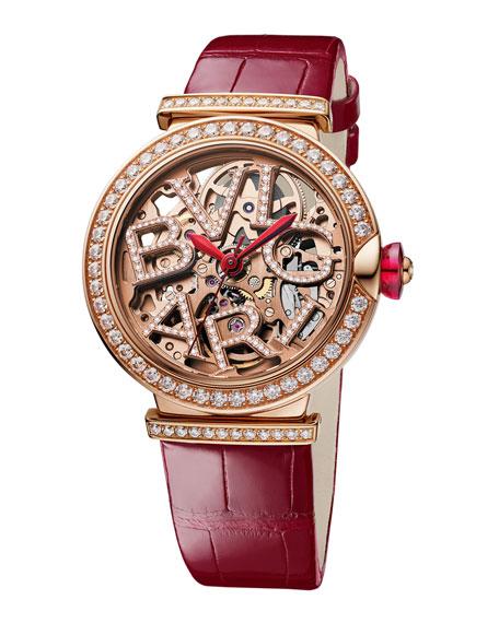 BVLGARI LVCEA Skeleton 33mm Diamond Leather Watch, Red/Rose