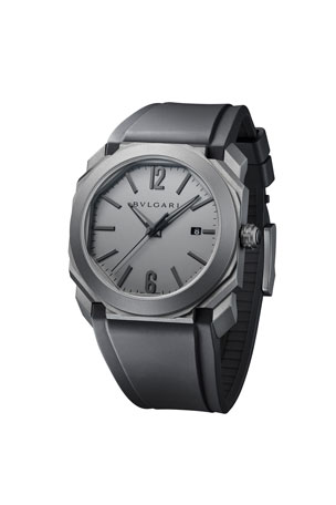 BVLGARI Men's 41mm Octo Solotempo Titanium Watch, Gray/Black
