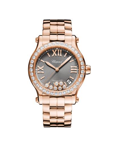 18k Rose Gold Diamond Happy Sport Automatic Bracelet Watch