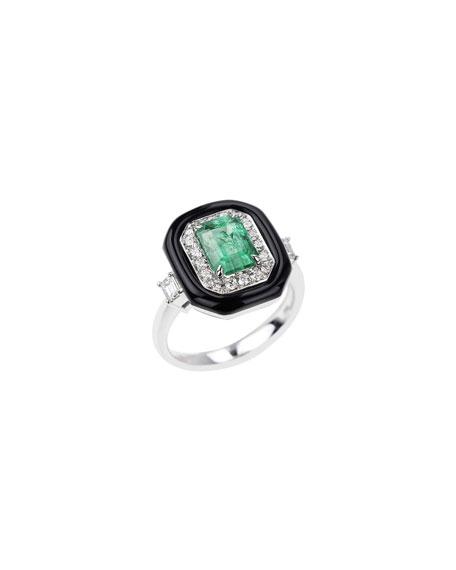 Nikos Koulis 18k White Gold Oui Emerald, Diamond & Enamel Ring, Size 7