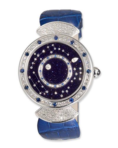 37mm Roman Night 18k White Gold Diamond Watch w/ Alligator Strap