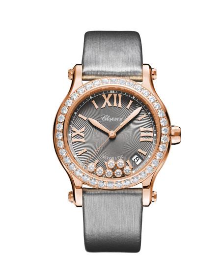 Chopard 18k Rose Gold Happy Sport Diamond Watch