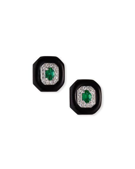 Nikos Koulis 18k White Gold Oui Diamond & Emerald Stud Earrings