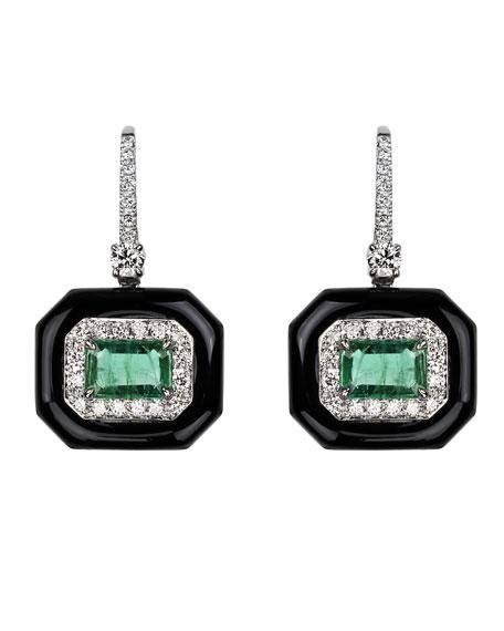 Nikos Koulis 18k White Gold Oui Diamond Pave & Emerald Earrings