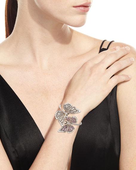 Staurino 18k White Gold Diamond & Pink Sapphire 2-Butterfly Bracelet