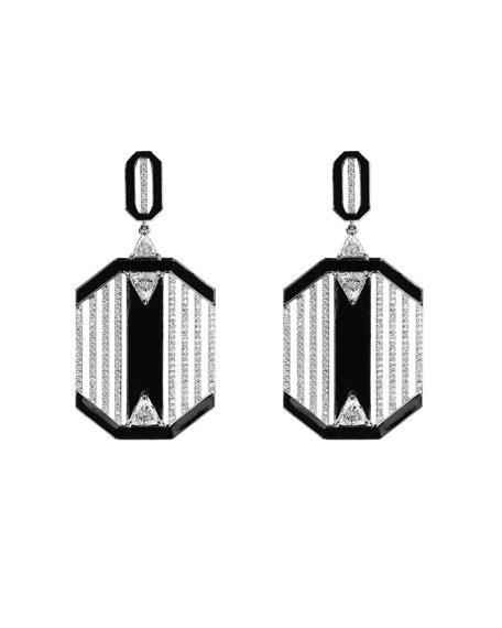 Nikos Koulis 18k White Gold Oui Diamond & Black Enamel Dangle Earrings