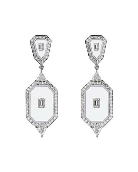 Nikos Koulis Universe Line 18k White Gold Mixed-Diamond Earrings
