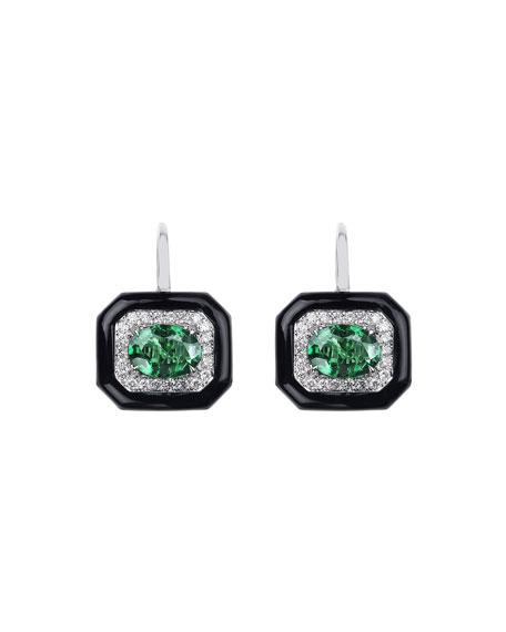 Nikos Koulis 18k White Gold Oui Diamond & Emerald Earrings