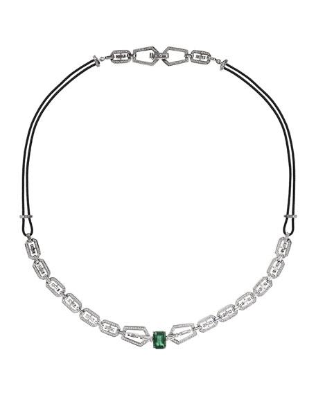 Nikos Koulis V 18k White Gold Diamond & Emerald Necklace