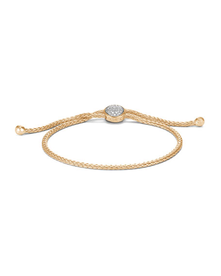 John Hardy 18k Classic Chain Pull-Through Bracelet w/ Diamonds