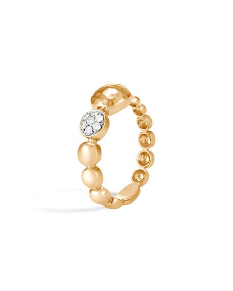 John Hardy Dot Hammered 18k Gold & Diamond Ring, Size 7