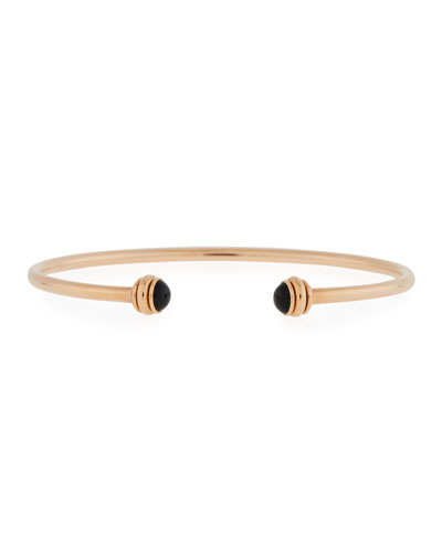 18k Rose Gold Possession Open Bangle with Black Onyx