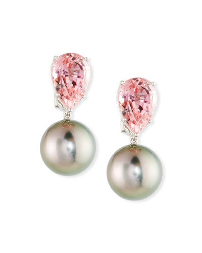 18k White Gold Tourmaline & Pearl Clip-On Earrings