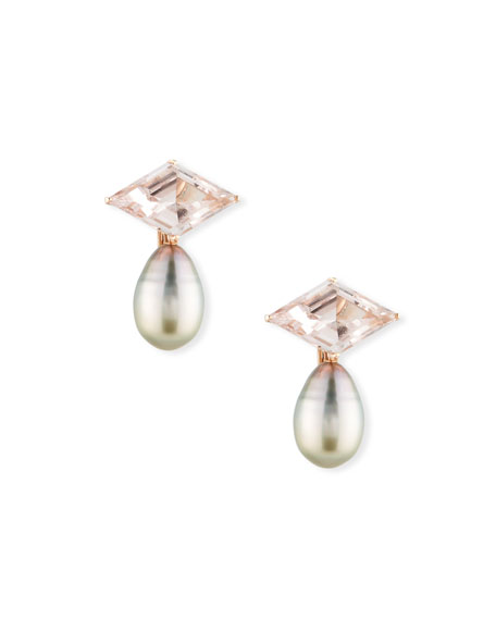 Image 1 of 3: 18k Rose Gold Morganite Rhombus & Pearl Clip-On Drop Earrings