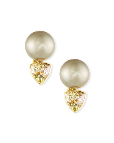 18k Tahitian Pearl & Tourmaline Clip-On Earrings