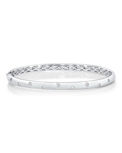 18k White Gold Stardust Diamond Bangle