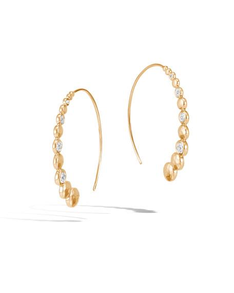 John Hardy 18k Gold Dot Hammered Medium Hoop Earrings w/ Diamonds