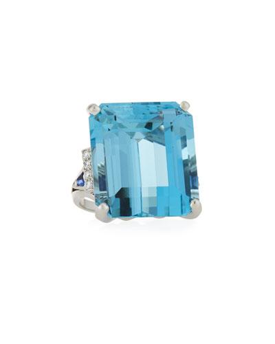 Platinum Square Aquamarine Ring  Size 6.5