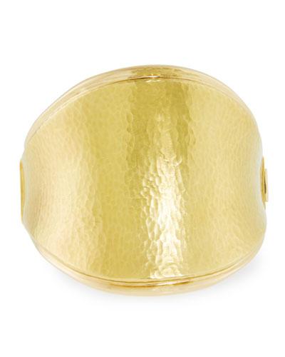 Hammered 18k Gold Saddle Bracelet