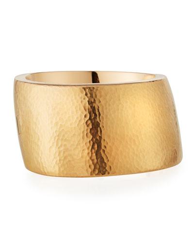 18k Rose Gold Wide Hammered Design Bracelet