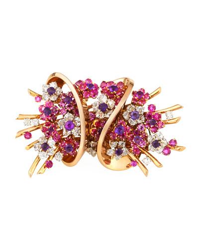 Vintage Mauboussin 18k Rose Gold Diamond, Sapphire & Amethyst Brooch