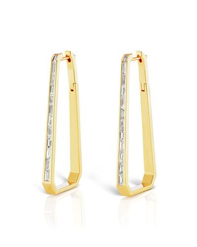 18k Gold Diamond Trapezoid Hoop Earrings