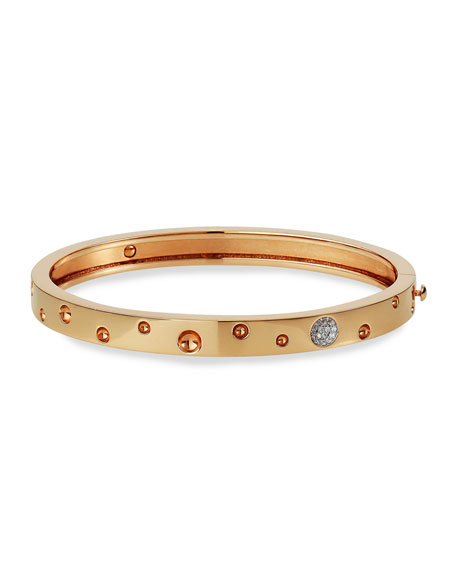 Roberto Coin Pois Moi Luna 18k Rose Gold Diamond Thin Bangle Bracelet