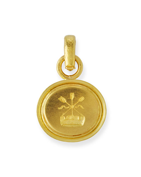 18k Gold Arrow & Castle Pendant